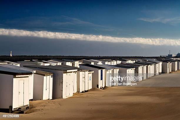 Calais beach huts at sunrise