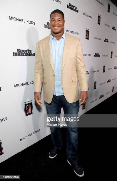 Calais Campbell at Sports Illustrated 2017 Fashionable 50 Celebration at Avenue on July 18 2017 in Los Angeles California