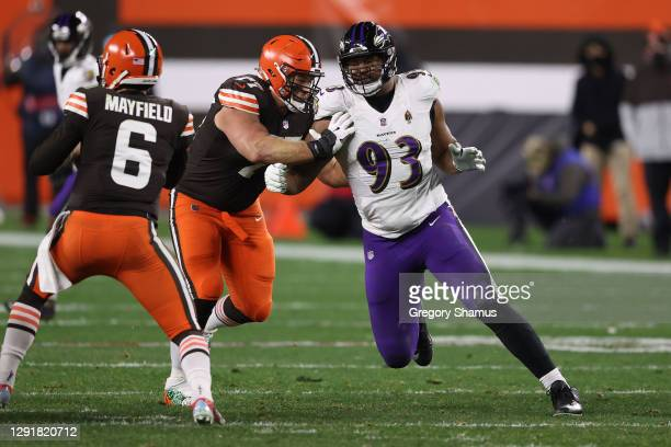 Calais Campbell of the Baltimore Ravens plays against the Cleveland Browns at FirstEnergy Stadium on December 14, 2020 in Cleveland, Ohio.