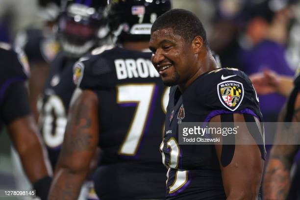 Calais Campbell of the Baltimore Ravens stands on the field prior the game against the Kansas City Chiefs at M&T Bank Stadium on September 28, 2020...