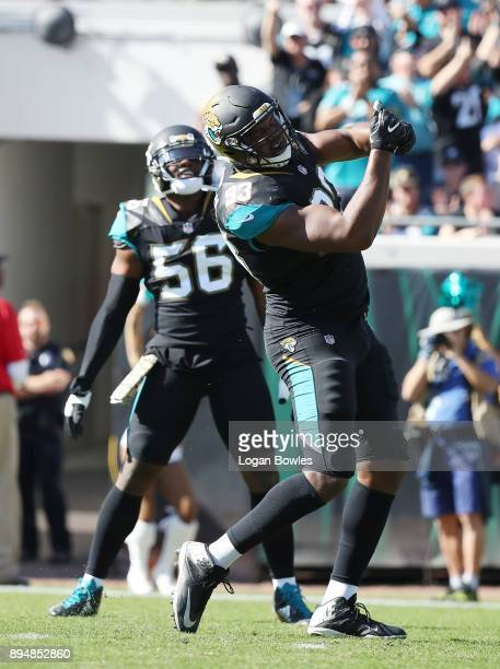 Calais Campbell of the Jacksonville Jaguars celebrates a play during the second half of their game against the Houston Texans at EverBank Field on...