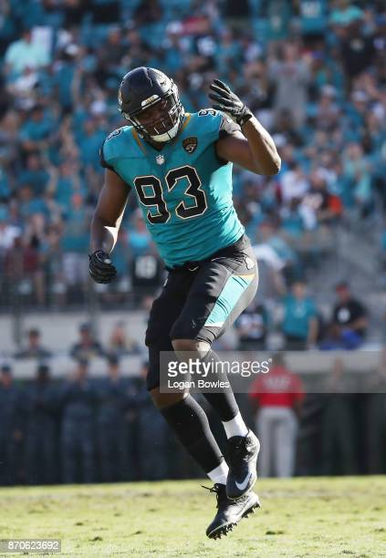 Calais Campbell of the Jacksonville Jaguars celebrates a play on the field in the second half of their game against the Cincinnati Bengals at...
