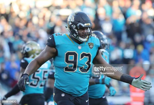 Calais Campbell of the Jacksonville Jaguars celebrates after a play during the first half of their game against the Seattle Seahawks at EverBank...
