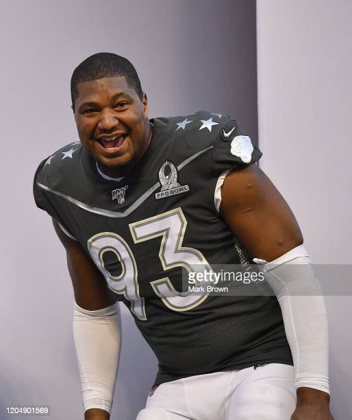 Calais Campbell of the Jacksonville Jaguars celebrates after the 2020 NFL Pro Bowl at Camping World Stadium on January 26 2020 in Orlando Florida