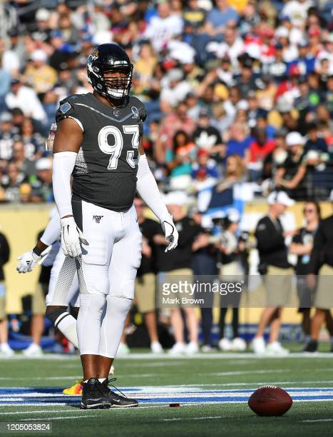 Calais Campbell of the Jacksonville Jaguars in action during the 2020 NFL Pro Bowl at Camping World Stadium on January 26 2020 in Orlando Florida