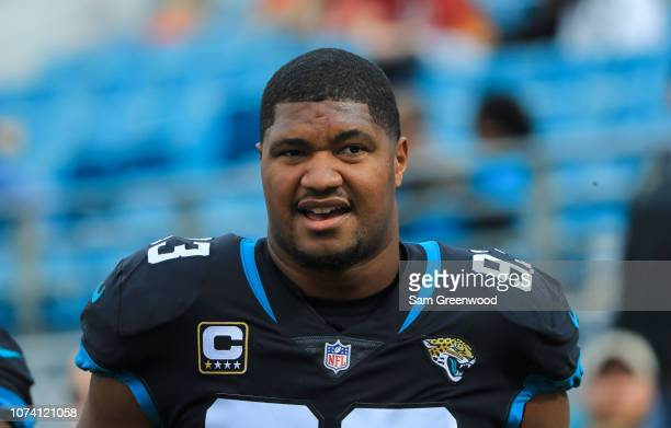 Calais Campbell of the Jacksonville Jaguars is seen prior to the game against the Washington Redskins at TIAA Bank Field on December 16 2018 in...