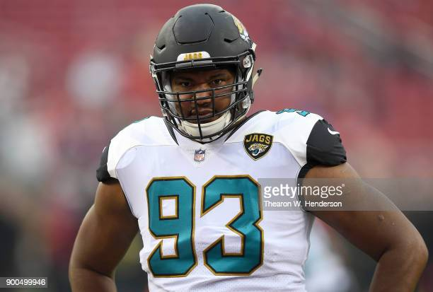 Calais Campbell of the Jacksonville Jaguars looks on during pregame warm ups prior to the start of an NFL football game against the San Francisco...