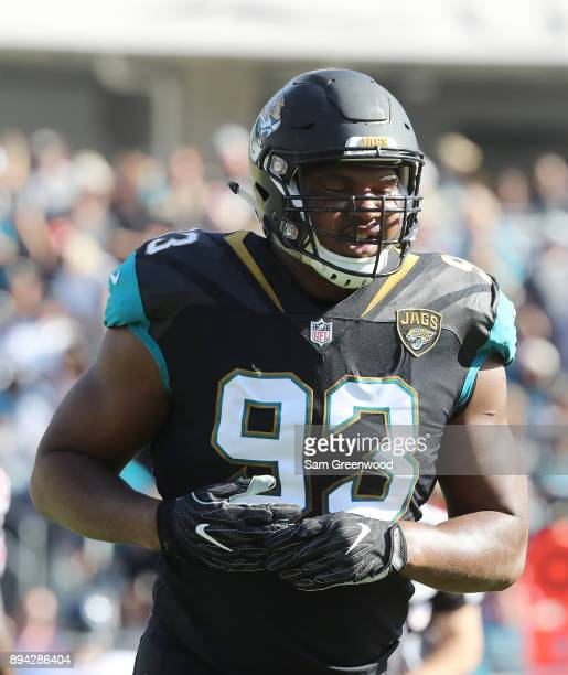 Calais Campbell of the Jacksonville Jaguars runs off the field during the first half of their game against the Houston Texans at EverBank Field on...