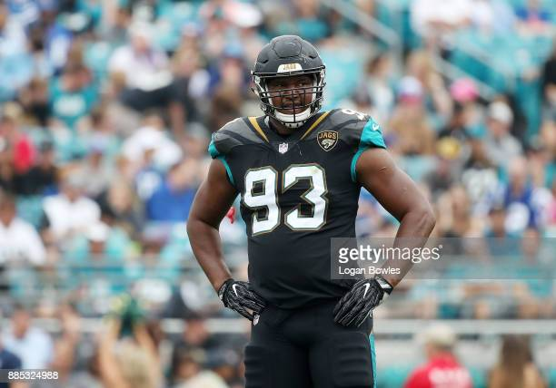 Calais Campbell of the Jacksonville Jaguars waits on the field during the first half of their game against the Indianapolis Colts at EverBank Field...