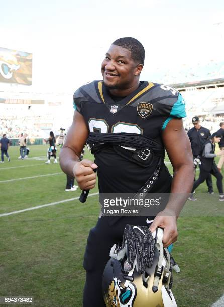 Calais Campbell of the Jacksonville Jaguars walks off the field after the Jaguars defeated the Houston Texans 457 at EverBank Field on December 17...
