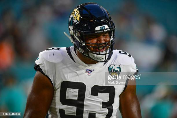 Calais Campbell of the Jacksonville Jaguars warms up before the preseason game against the Miami Dolphins at Hard Rock Stadium on August 22, 2019 in...