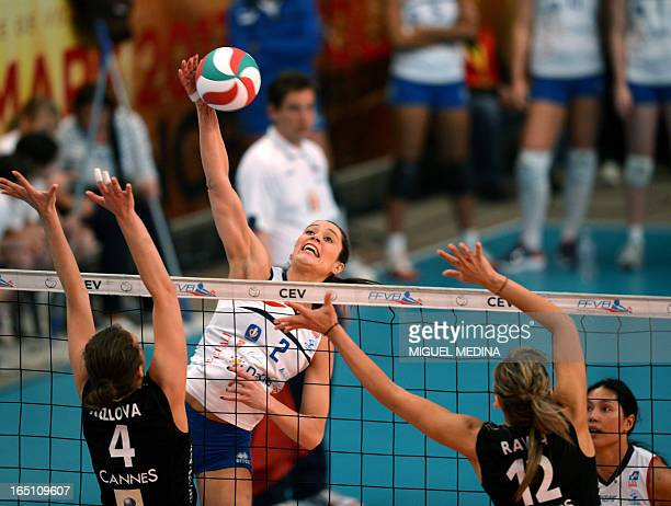 Calais' Tamara Matos Hoffmann jumps to spike during the Women French Championship volleyball final match Cannes vs Calais on March 30 2013 at the...