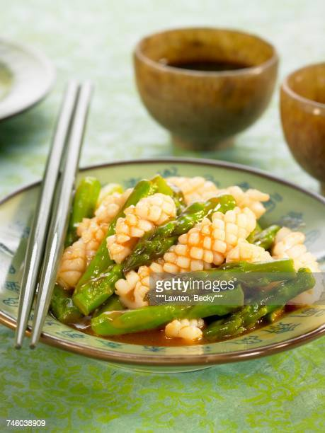 Calamaries with asparagus,ginger and rice wine sauce