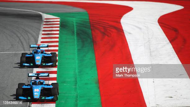 Calan Williams of Australia and Jenzer Motorsport leads Matteo Nannini of Italy and Jenzer Motorsport during the sprint race for the Formula 3...