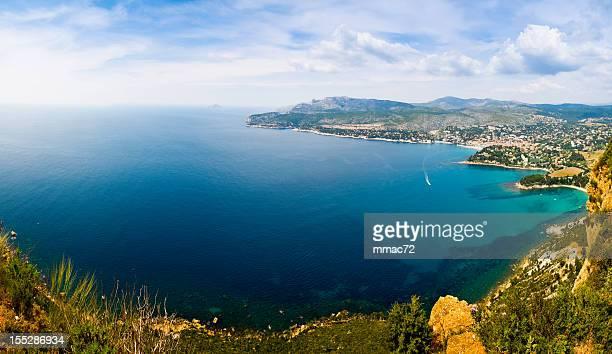 calanque de port d'alon panoramic (xxxl-30mp) - calanques stock pictures, royalty-free photos & images