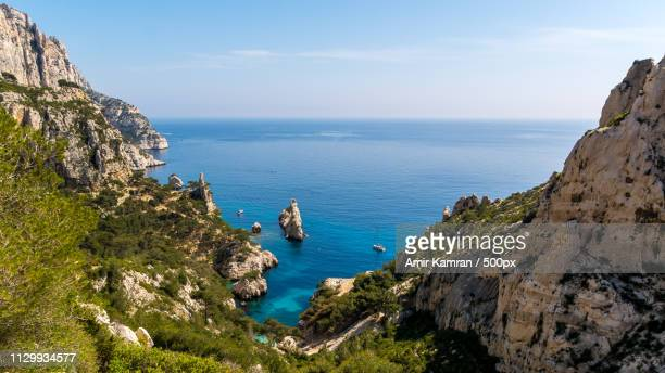 calanque de sugiton - calanques stock pictures, royalty-free photos & images