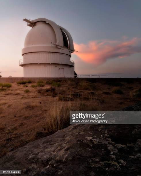 calar alto observatory at sunset - observatorium stock-fotos und bilder
