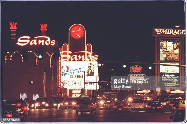 CALas VegasSandsMB––––The Las Vegas skyline shooting from Treasure Island looking up the strip on Las Vegas Blvd
