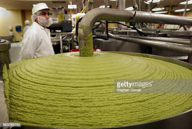 Calavo in Santa Paula is working overtime to process guacamole to fill orders for the Super Bowl on Sunday A vat of pureed avocados is readied for...