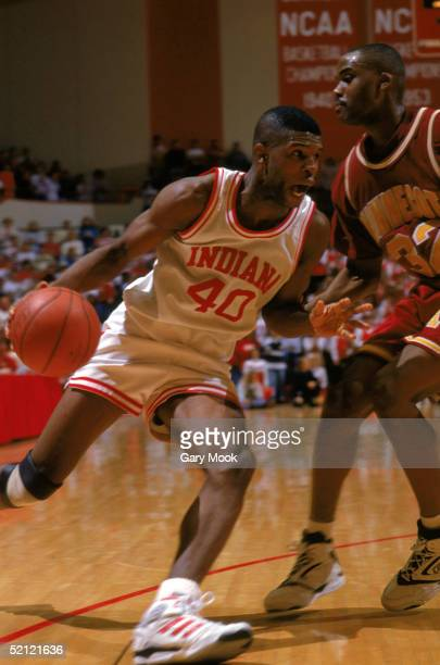 Calbert Cheaney of the Indiana University Hoosiers drives to the basket during an NCAA game against the University of Minnesota Golden Gophers on...