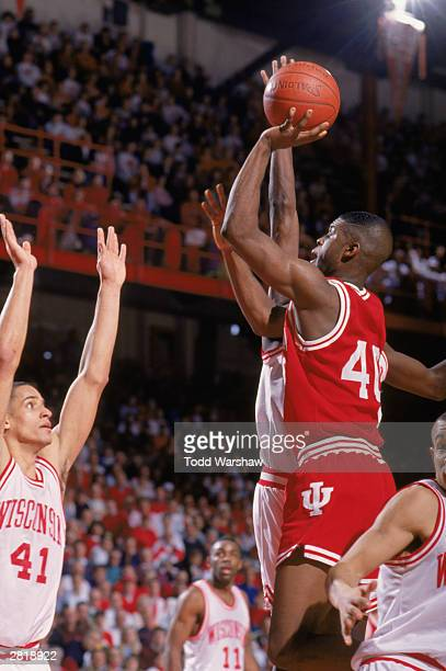 Calbert Cheaney Sr #40 of the Indiana University Hoosiers puts up a jump shot during an NCAA game against the University of Wisconsin Badgers on...