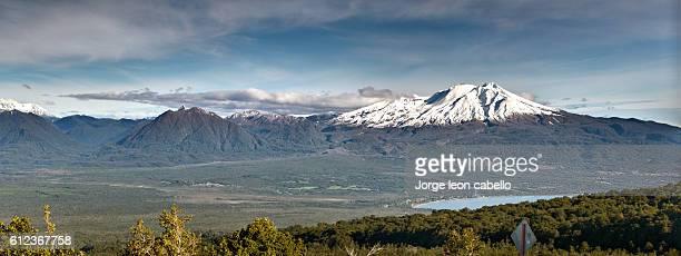 calbuco volcano panorama - calbuco volcano stock pictures, royalty-free photos & images