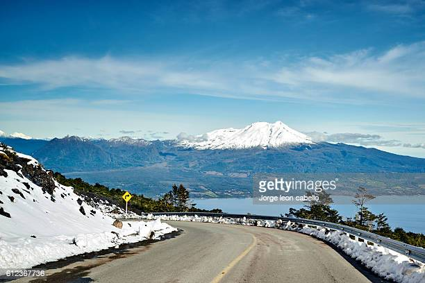 calbuco volcano view - stratovolcano stock photos and pictures