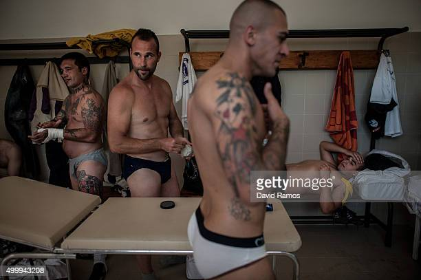 Calcianti of Santo Spirito Bianchi Team are seen in the locker room before their semifinal at the Bianchi Headquarter on June 15 2013 in Florence...