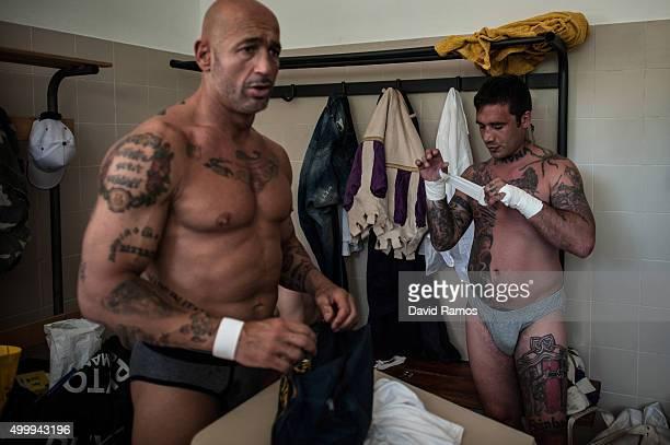 Calcianti of Santo Spirito Bianchi Team Maurizio Bonfiglio and Riccardo Sorio 'Verona' are seen in the locker room before their semifinal at the...