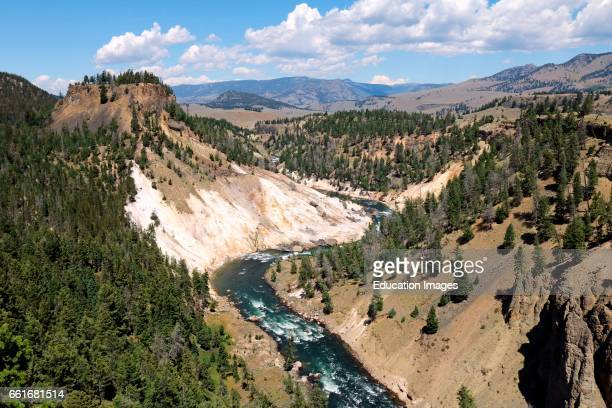 Calcite Springs along the Yellowstone River in the northern section of Yellowstone National Park Wyoming in summer Calcite Springs is located in the...