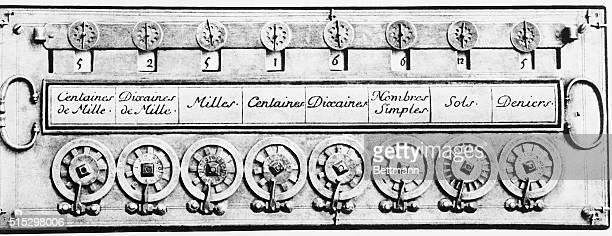 Calculating machine derived from Blaise Pascal top view Undated photograph