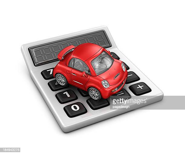 calculator and red car