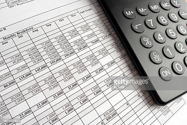 calculator and spreadsheet - irs stock photos and pictures