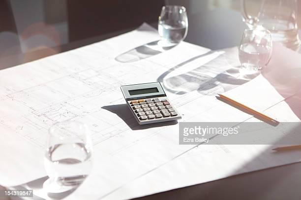 Calculator in modern office.