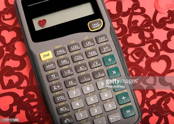 Calculatrice sur un arrière-plan brillant coeur