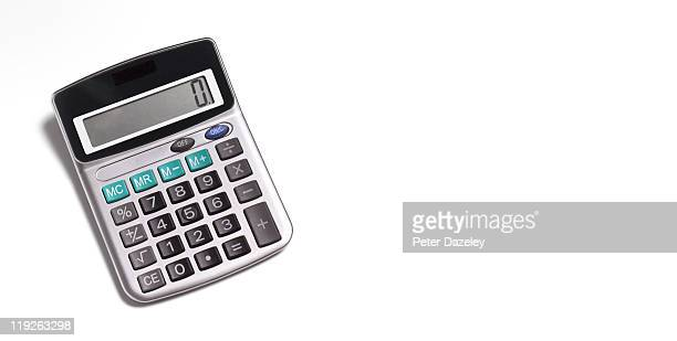 Calculator on white background with copy space