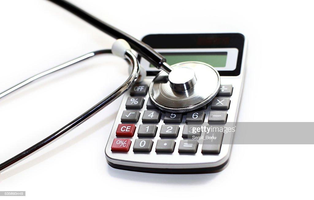 calculator stethoscope : Stock Photo
