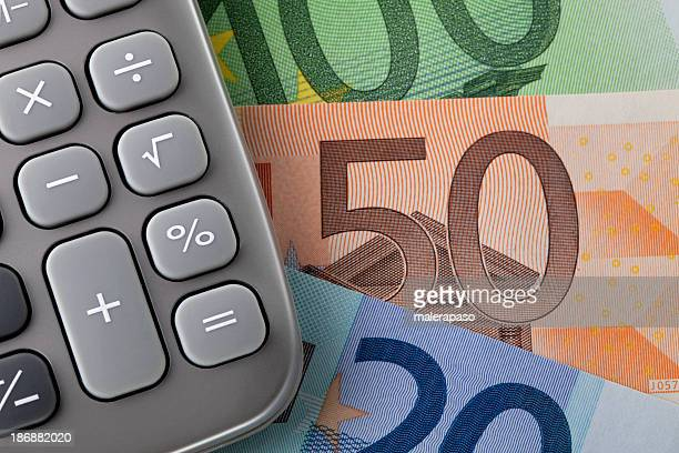 Calculator with euro notes