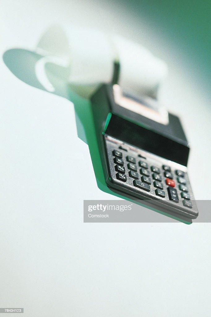 Calculator with tape : Stockfoto