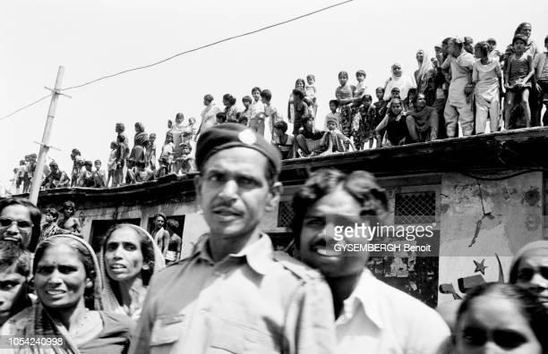 Calcutta Inde mars 1987 Elections dans l'Etat du BengaleOccidental Meeting du Premier ministre indien Rajiv GANDHI venu soutenir les candidats du...