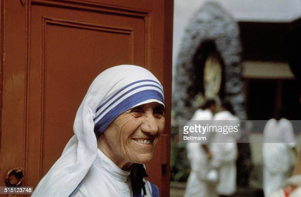 Calcutta, India: Profile close up of Mother Teresa, founder of the Society of the Missionaries of Charity and 1979 Nobel Peace Prize winner.
