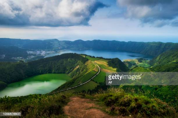 caldeira das sete cidades on the island of sao miguel, azores, portugal - atlantic islands stock pictures, royalty-free photos & images