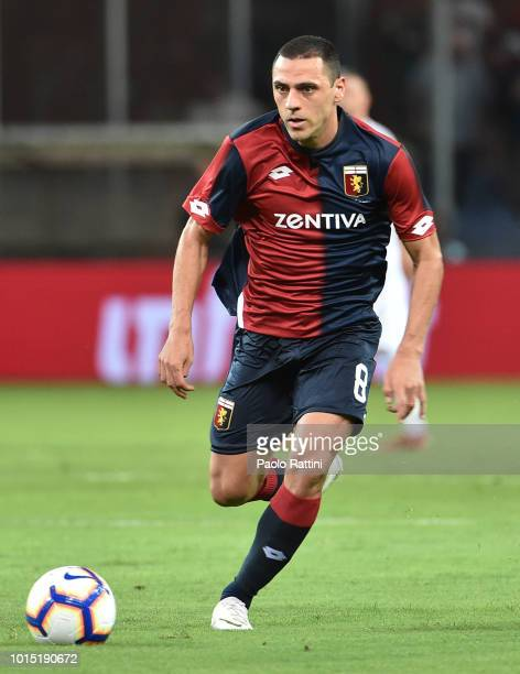 Caldeira Romulo of Genoa in action during the Coppa Italia match between Genoa CFC and Lecce at Stadio Luigi Ferraris on August 11 2018 in Genoa Italy