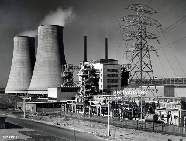 Calder Hall Cumberland England the world's first full scale nuclear power station opened 17 October 1976 On left are cooling towers and on right...