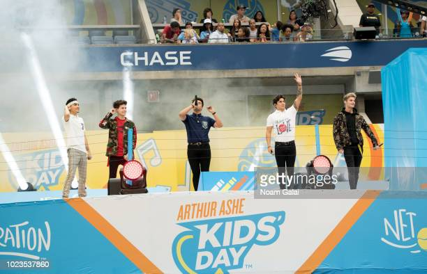 Calderon Sergio Drew Ramos Singer Chance Perez Brady Tutton and Michael Conor of 'In Real Life' attend the 2018 Arthur Ashe Kids' Day at USTA Billie...