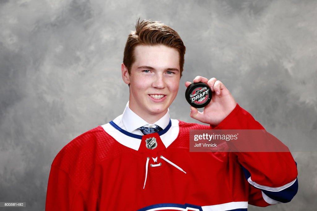 Cale Fleury, 87th overall pick of the Montreal Canadiens, poses for a portrait during the 2017 NHL Draft at United Center on June 24, 2017 in Chicago, Illinois.