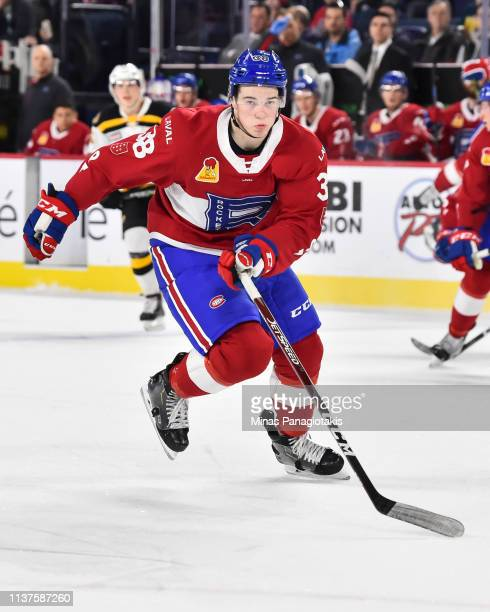 Cale Fleury of the Laval Rocket skates against the Providence Bruins during the AHL game at Place Bell on March 20 2019 in Laval Quebec Canada The...