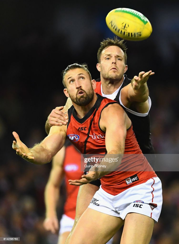 Cale Hooker of the Bombers and Nathan Brown of the Saints compete for a mark during the round 17 AFL match between the St Kilda Saints and the Essendon Bombers at Etihad Stadium on July 14, 2017 in Melbourne, Australia.