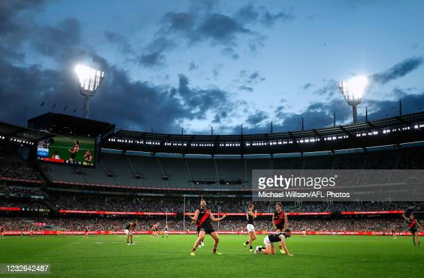 Cale Hooker of the Bombers celebrates a goal during the 2021 AFL Round 07 match between the Essendon Bombers and the Carlton Blues at the Melbourne...
