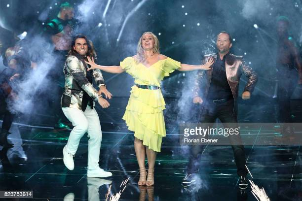 Cale Kalay Ruth Moschner and DJ Bobo during the 1st show of the television competition 'Dance Dance Dance' on July 12 2017 in Cologne Germany The...